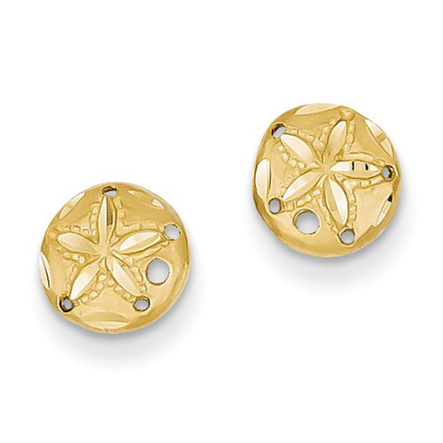 14kt Yellow Gold Mini Sand Dollar Earrings