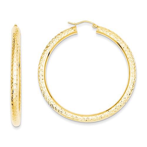 14kt Yellow Gold 2in Diamond-cut Lightweight Hoop Earrings 4mm
