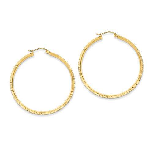 14kt Yellow Gold 1 3/4in Hollow Knife Edge Diamond-cut Hoop Earrings