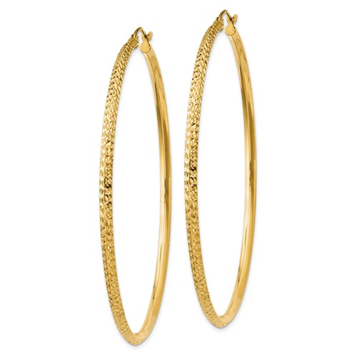 14kt Yellow Gold 2 1/2in Hollow Knife Edge Diamond-cut Hoop Earrings