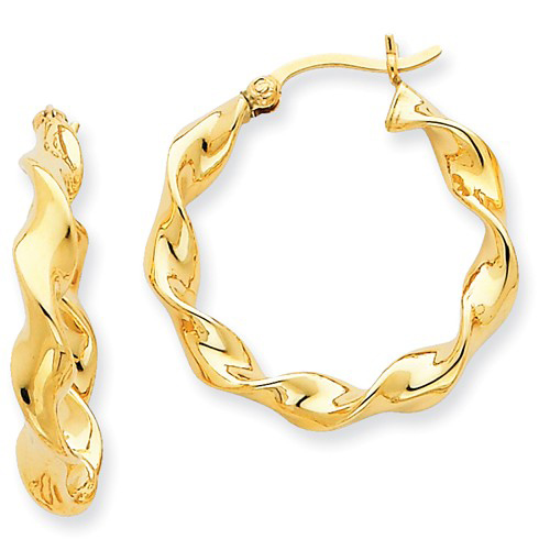 14kt Yellow Gold 1in Hollow Twisted Hinged Hoop Earrings