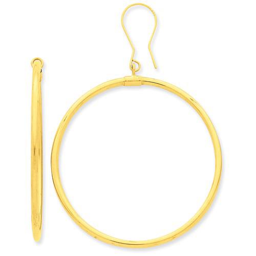 14kt Yellow Gold 1 1/2in Hoop Dangle Earrings 2mm