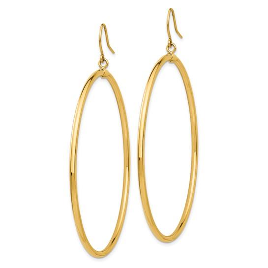 14kt Yellow Gold 2in Tube Hoop Dangle Earrings