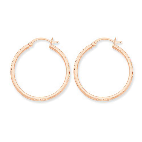 14kt Rose Gold 1 1/8in Diamond-cut Hoop Earrings