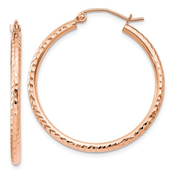 14kt Rose Gold 1 1/8in Diamond-cut Hoop Earrings