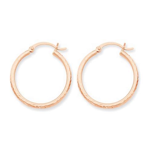 14kt Rose Gold 1in Diamond-cut Hoop Earrings