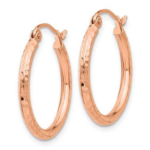 14kt Rose Gold 3/4in Diamond-cut Hoop Earrings