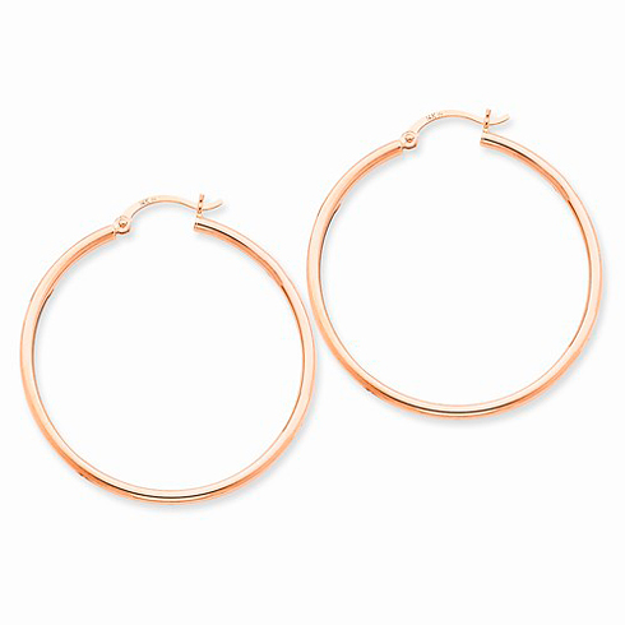 14kt Rose Gold 1 1/2in Classic Hoop Earrings 2mm