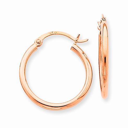 14kt Rose Gold 3/4in Classic Hoop Earrings 2mm