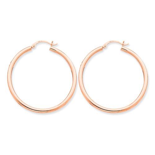 14kt Rose Gold 1 1/2in Round Hoop Earrings 2.5mm