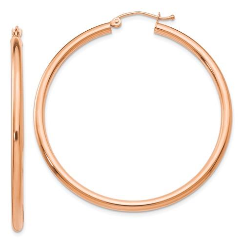 14kt Rose Gold 2in Round Hoop Earrings 2.5mm