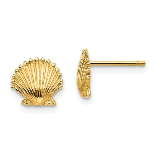 14k Yellow Gold Scallop Shell Stud Earrings