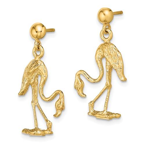 14k Yellow Gold Flamingo Dangle Ball Earrings