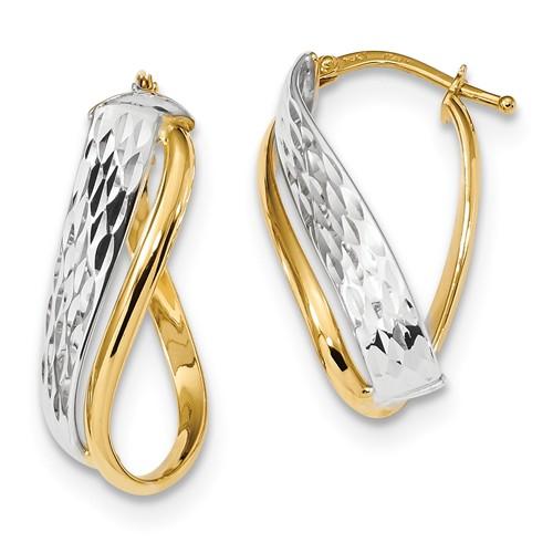 14k Two-tone Gold Italian Diamond-cut Overlap Hoop Earrings 1in