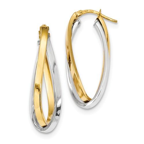 14k Two-tone Gold Italian Oval Double Hoop Earrings 1 3/8in