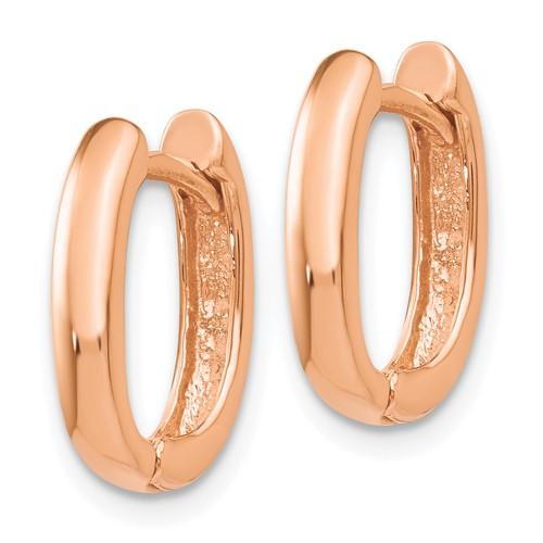 14kt Rose Gold 1/2in Oval Hinged Hoop Earrings 3mm