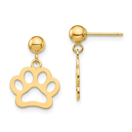 14k Yellow Gold Dog Paw Dangle Earrings 5/8in