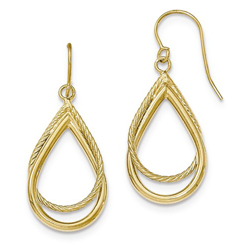 14kt Yellow Gold Italian Textured Teardrop Dangle Earrings