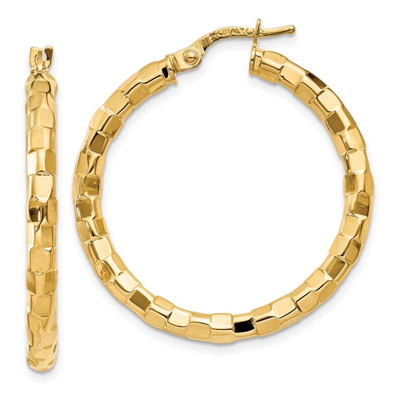 14kt Yellow Gold 1 3/8in Italian Faceted Round Hoop Earrings