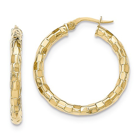 14kt Yellow Gold 1 1/8in Italian Faceted Round Hoop Earrings
