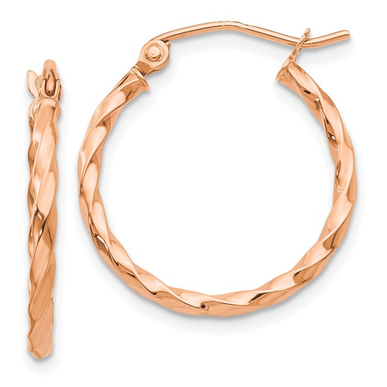 14kt Rose Gold 3/4in Hoop Earrings with Twisted Texture