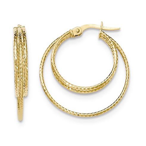 14kt Yellow Gold 1in Italian Inset Hoop Earrings