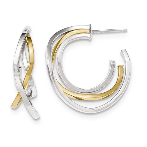 14kt Two-tone Gold 1 1/8in Italian Crossover Post Hoop Earrings