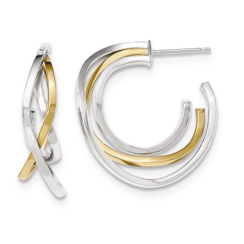 14kt Two-tone Gold 1 1/8in Italian Crossover Post Hoop Earrings