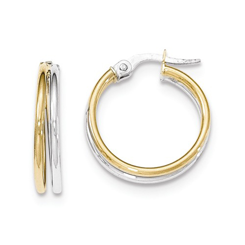 14kt Two-tone Gold 3/4in Italian Polished Hoop Earrings