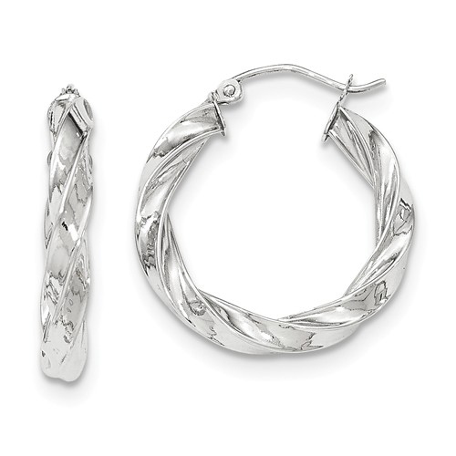 14kt White Gold 1in Light Twisted Hoop Earrings