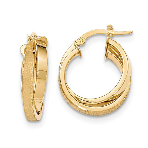 14kt Yellow Gold 1in Italian Polished and Satin Twisted Hoop Earrings