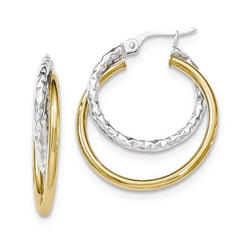 14kt Two-tone Gold 1 1/8in Italian Staggered Hoop Earrings