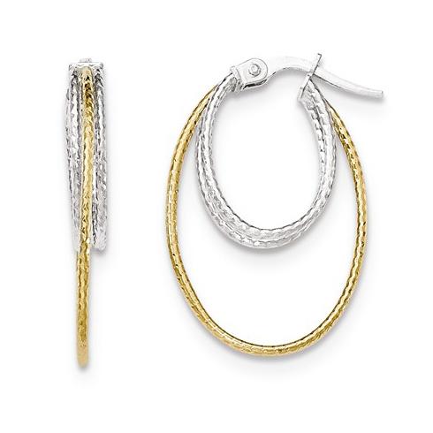 14kt Two-tone Gold 1in Italian Inset Oval Hoop Earrings