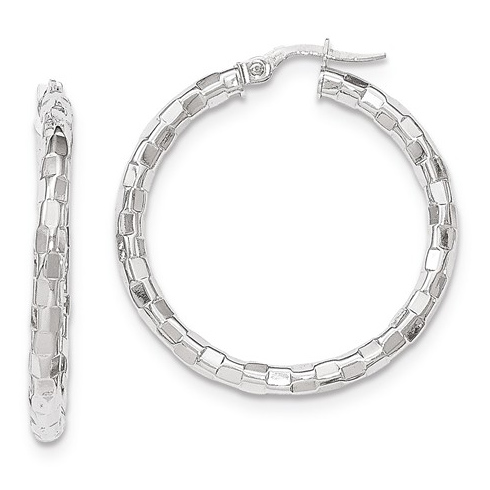 14kt White Gold 1 3/8in Italian Faceted Round Hoop Earrings