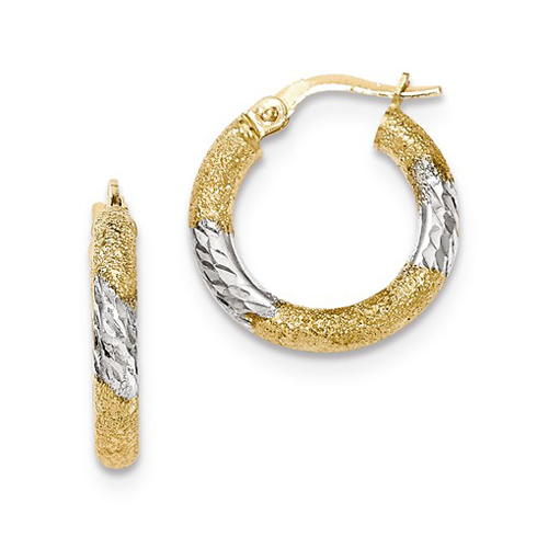 14kt Two-tone Gold 3/4in Italian Diamond-cut Hoop Earrings