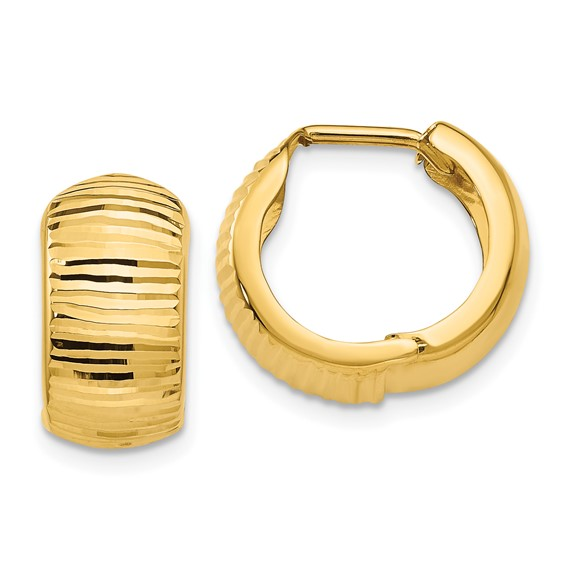 14kt Yellow Gold 5/8in Striped Huggie Earrings 7mm