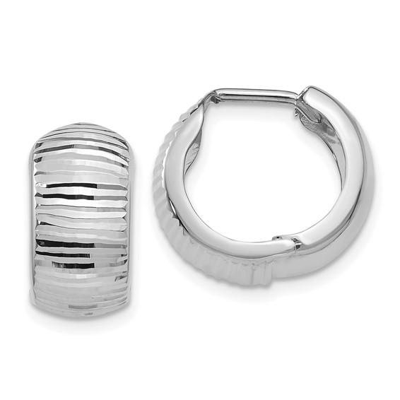 14kt White Gold 5/8in Striped Huggie Earrings 7mm
