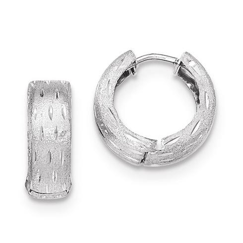 14kt White Gold 5/8in Satin Huggie Earrings 4mm