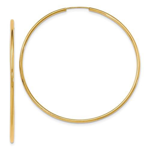 14kt Yellow Gold 3in Endless Hoop Earrings 2mm