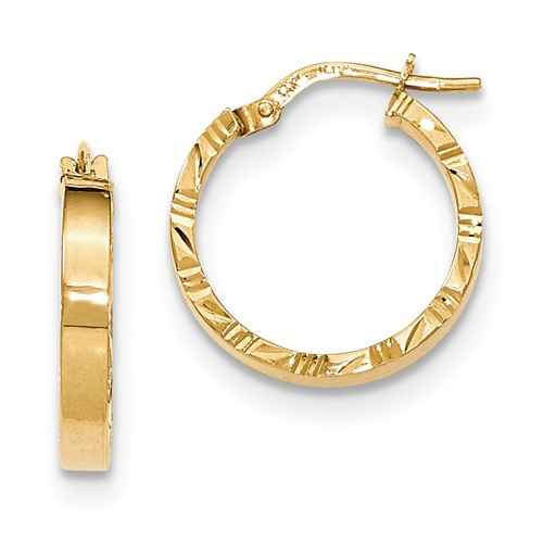 14kt Yellow Gold 3/4in Italian Hoop Earrings with Diamond-cut Edges