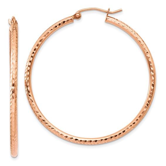 14kt Rose Gold 1 3/4in Light Diamond-cut Hoop Earrings 2mm