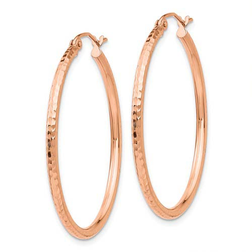 14kt Rose Gold 1 1/2in Light Diamond-cut Hoop Earrings 2mm