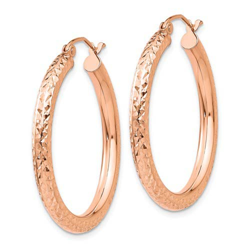 14kt Rose Gold 1 1/4in Diamond-cut Hoop Earrings 3mm