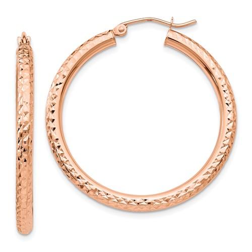 14kt Rose Gold 1 1/2in Diamond-cut Hoop Earrings 3mm