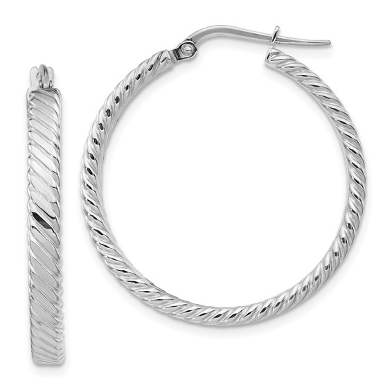 14kt White Gold 1 1/4in Italian Striped Round Hoop Earrings