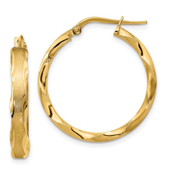 14kt Yellow Gold 1in Italian Striped Round Hoop Earrings