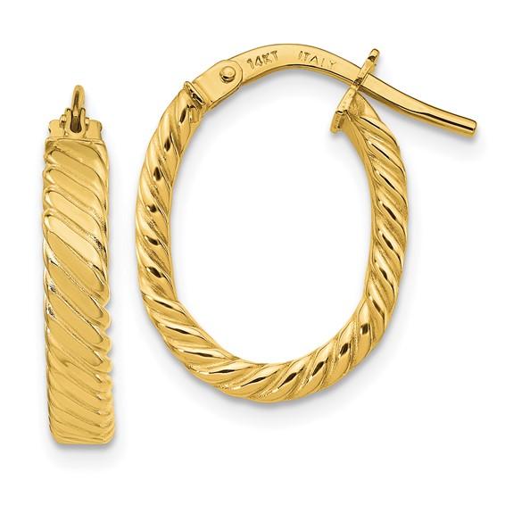 14kt Yellow Gold 3 4in Italian Striped Oval Hoop Earrings