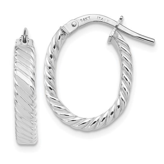 14kt White Gold 3/4in Italian Striped Oval Hoop Earrings