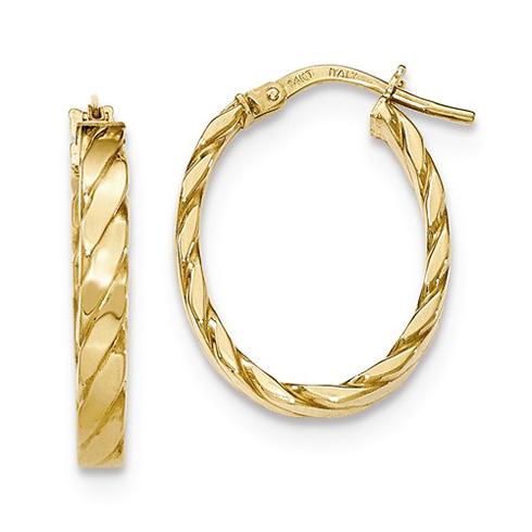 14kt Yellow Gold 7/8in Italian Striped Oval Hoop Earrings