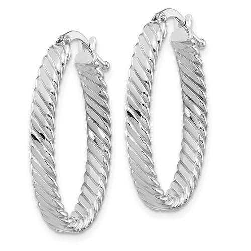 14kt White Gold 7/8in Italian Striped Oval Hoop Earrings